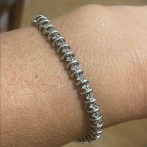 Sterling Silver real diamonds vintage bracelet